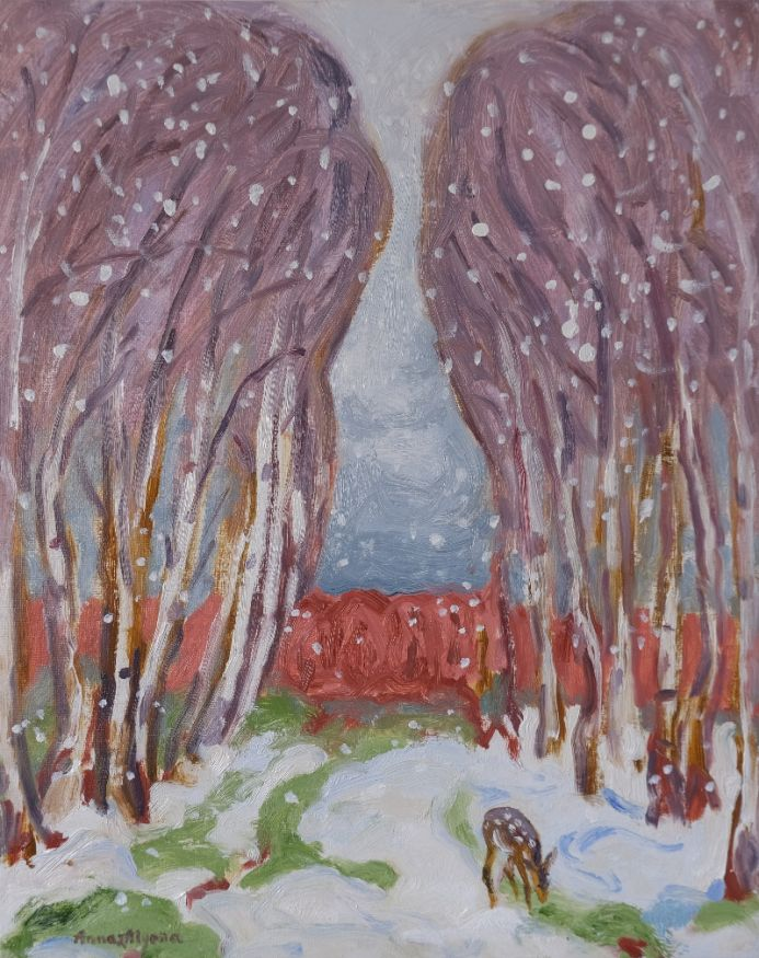 First Snow 20x16inches original oil painting