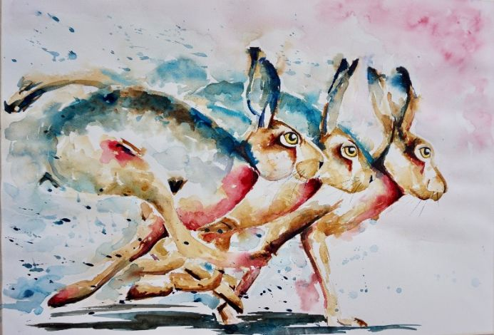 Hares at Full Pelt LARGE