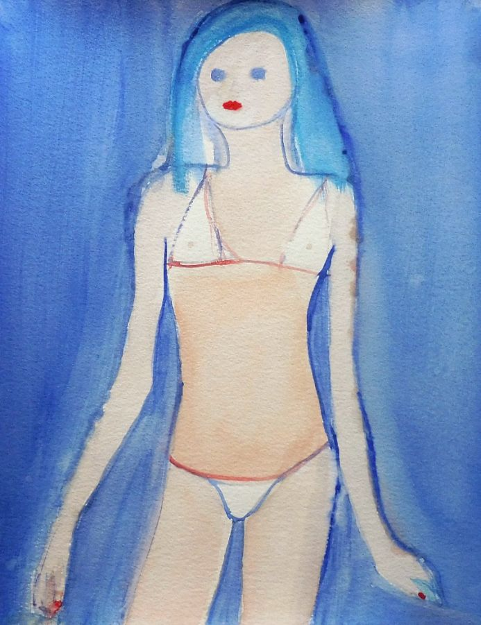 FEMALE FIGURE WHITE BIKINI. Original Impressionistic Figurative Watercolour Painting.