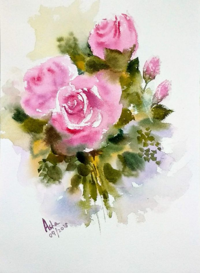 Rose painting Pink Roses  Loose Watercolor Floral painting