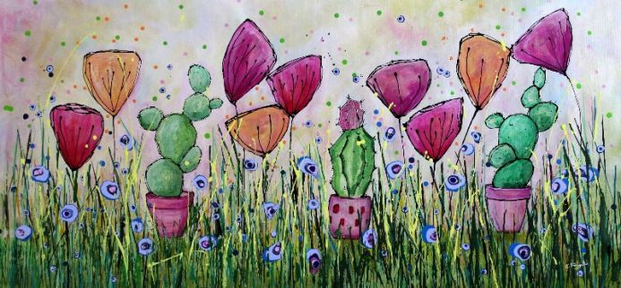 Young Folks -Prickly Friends#1 - Large original floral painting