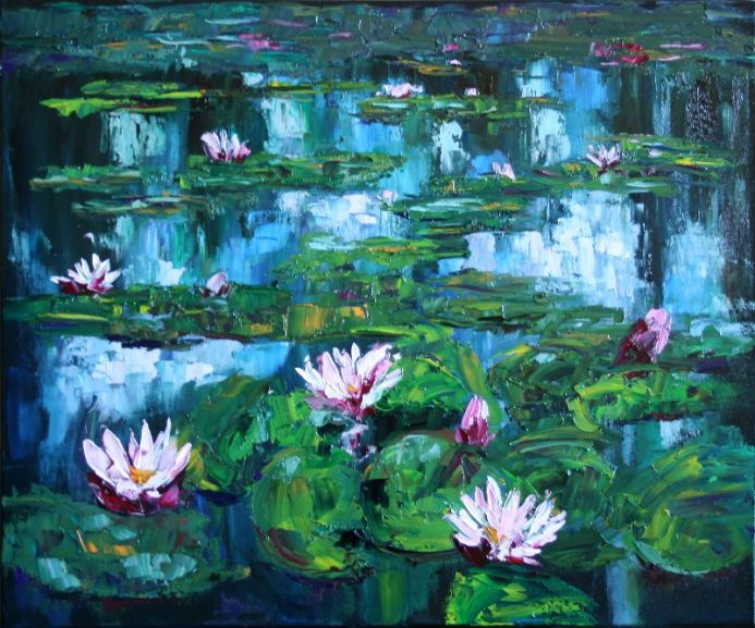 Lilies II / Lily Pond. Pink flowers