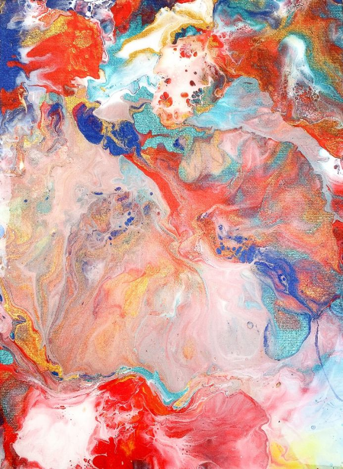I belong deeply to myself, fluid abstract painting by Alessia Camoirano Bruges