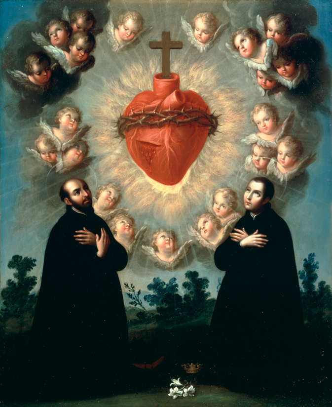 Sacred Heart of Jesus with Saint Ignatius of Loyola and Saint Louis Gonzaga by Jose de Paez
