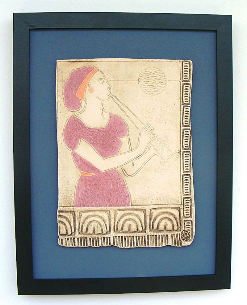 Euterpe - Muse of Music - (Framed Ceramic Panel)