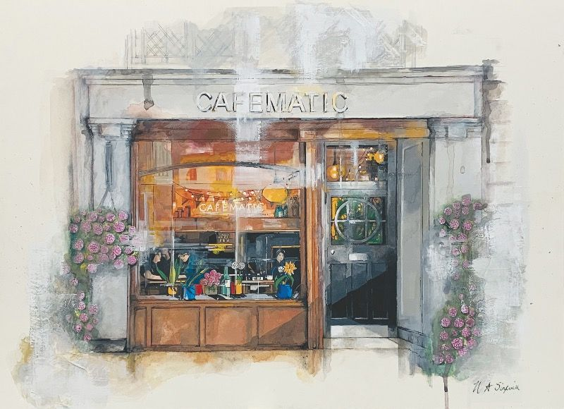 Cafematic Cafe Bar Limited Edition Print By Helen Sinfield